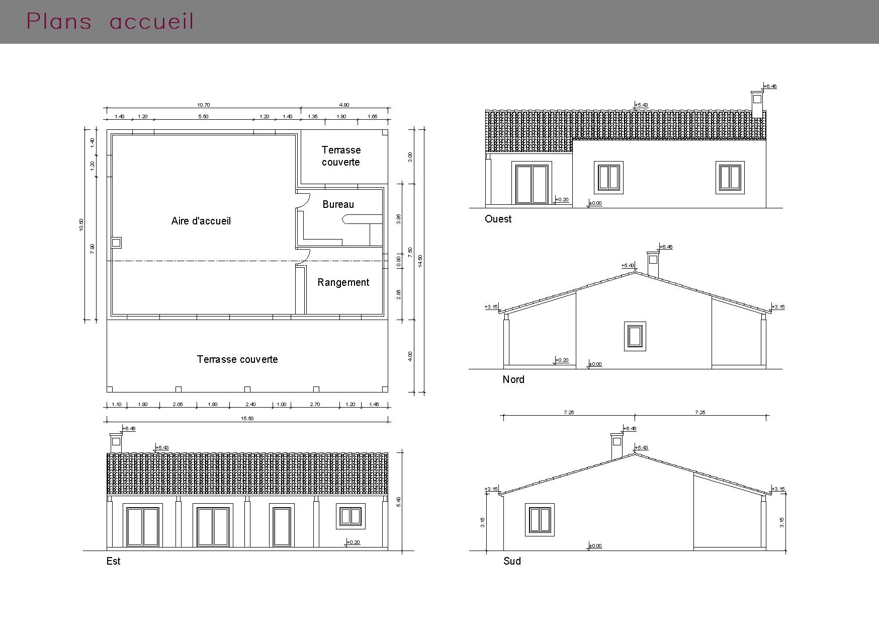 Plans d'un espace d'accueil et ses façades