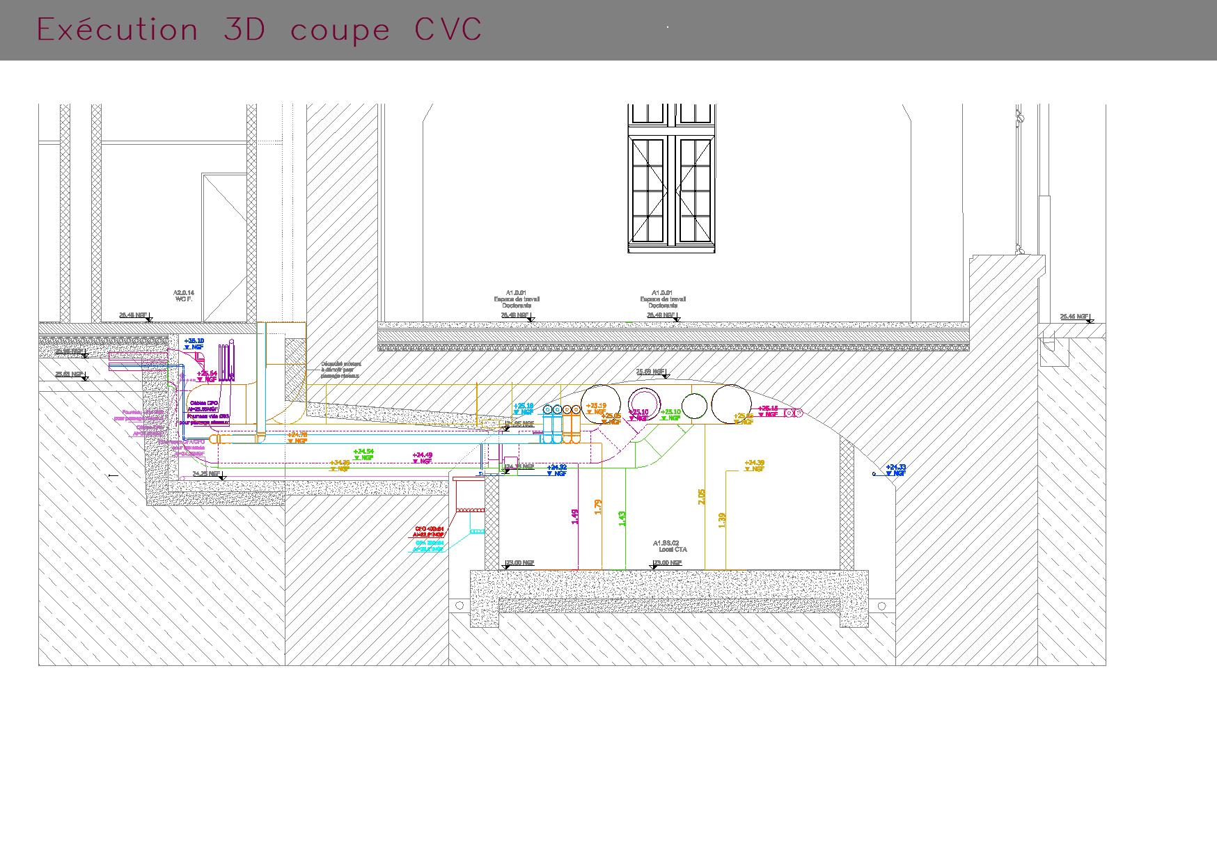Plans d'exécutions en 3D d'une coupe CVC
