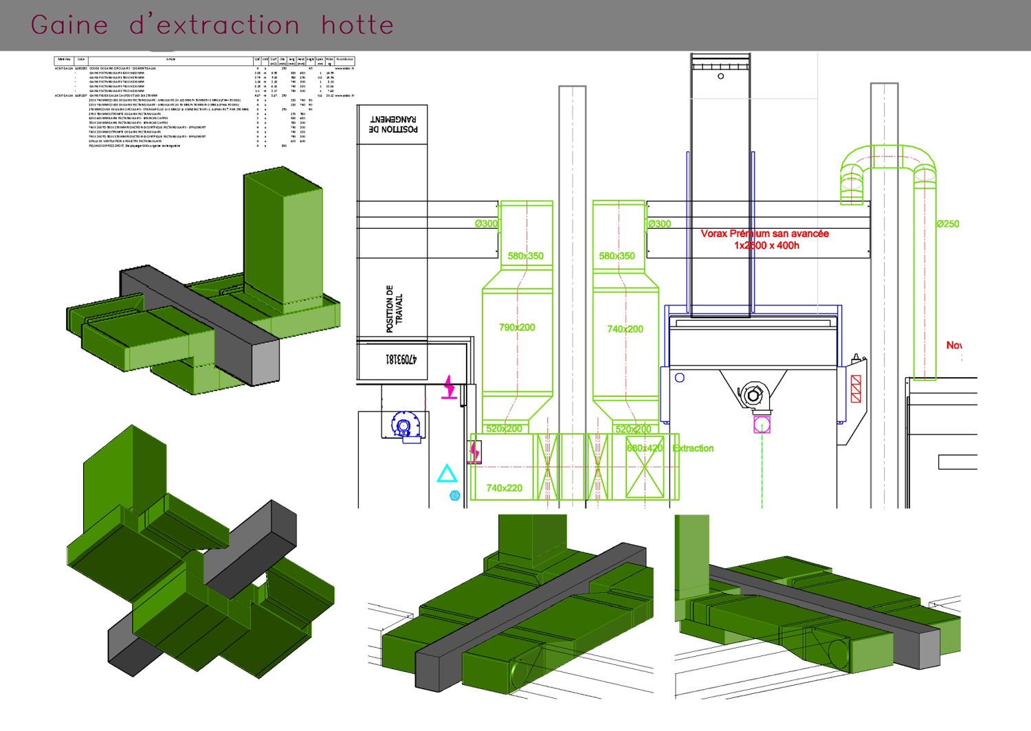 Gaine d'extraction d'une hotte : plans et vues 3D