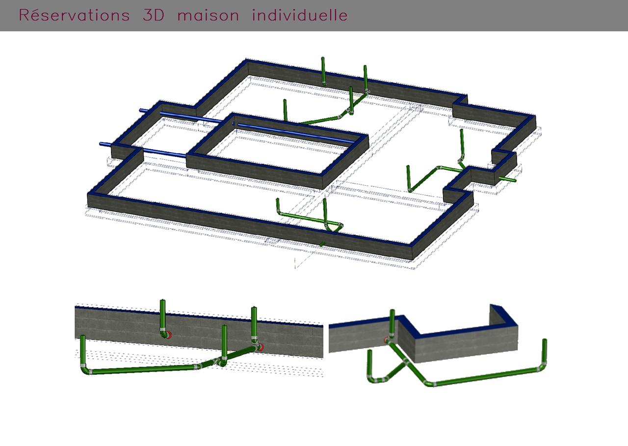 Plans de réservations en 3D pour une habitation